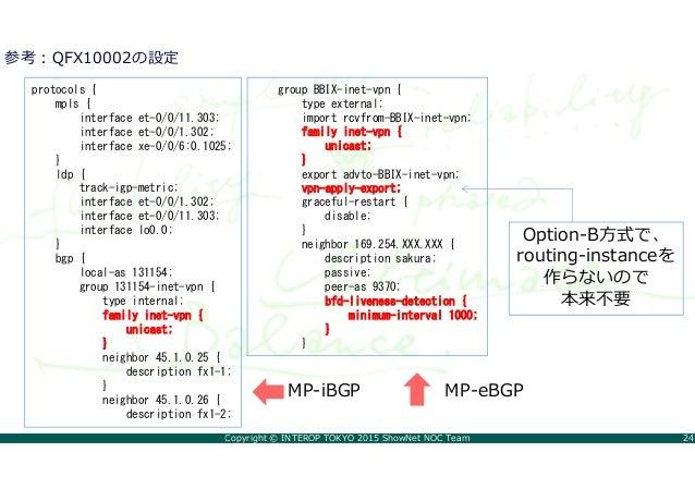 Copyright © INTEROP TOKYO 2015 ShowNet NOC Team 24 参考:QFX10002の設定 protocols { mpls { interface et-0/0/11.303; interface et...
