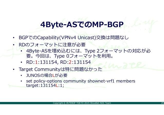 Copyright © INTEROP TOKYO 2015 ShowNet NOC Team 25 4Byte-ASでのMP-BGP • BGPでのCapability(VPNv4 Unicast)交換は問題なし • RDのフォーマットに注意...