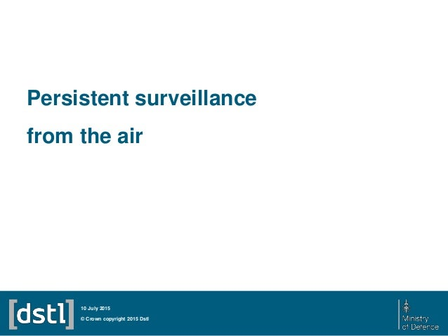 Persistent surveillance from the air © Crown copyright 2015 Dstl 10 July 2015