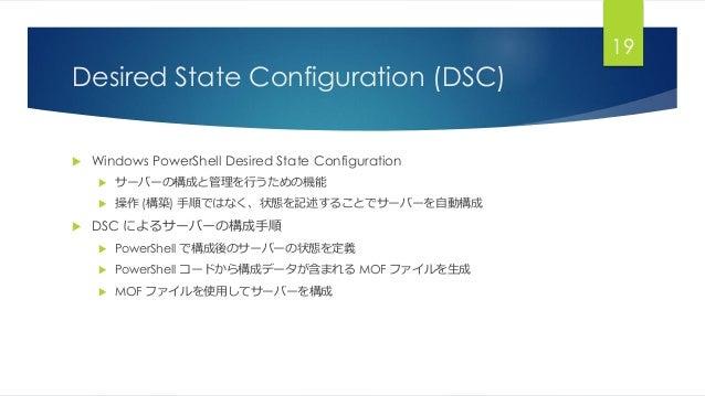 Desired State Configuration (DSC)  Windows PowerShell Desired State Configuration  サーバーの構成と管理を行うための機能  操作 (構築) 手順ではなく、状...
