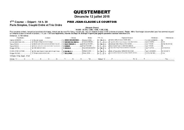 QUESTEMBERT Dimanche 12 juillet 2015 1ère Course – Départ : 14 h. 30 PRIX JEAN-CLAUDE LE COURTOIS Paris Simples, Couplé Or...