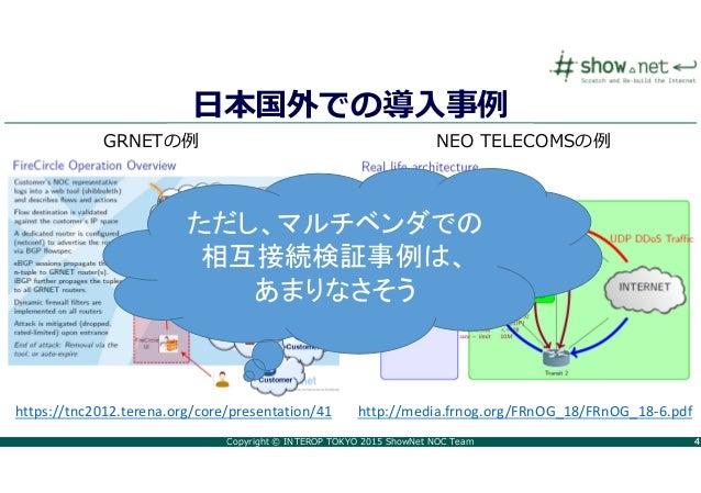 Copyright © INTEROP TOKYO 2015 ShowNet NOC Team 44 日本国外での導⼊事例 https://tnc2012.terena.org/core/presentation/41 GRNETの例 NEO ...