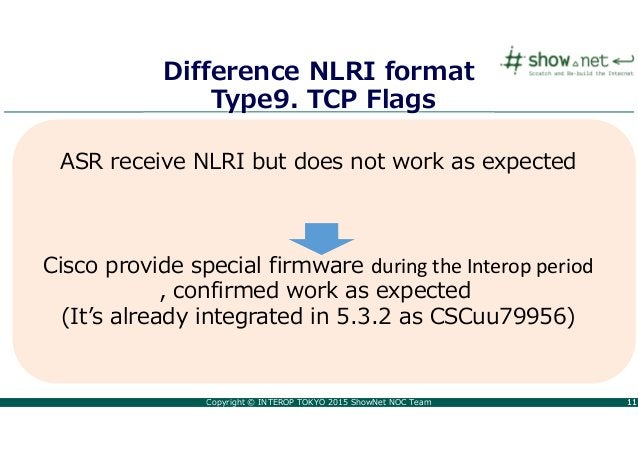 Copyright © INTEROP TOKYO 2015 ShowNet NOC Team 1111 Difference NLRI format Type9. TCP Flags ASR receive NLRI but does not...