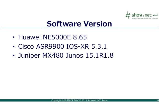 Copyright © INTEROP TOKYO 2015 ShowNet NOC Team 1818 Software Version • Huawei NE5000E 8.65 • Cisco ASR9900 IOS-XR 5.3.1 •...