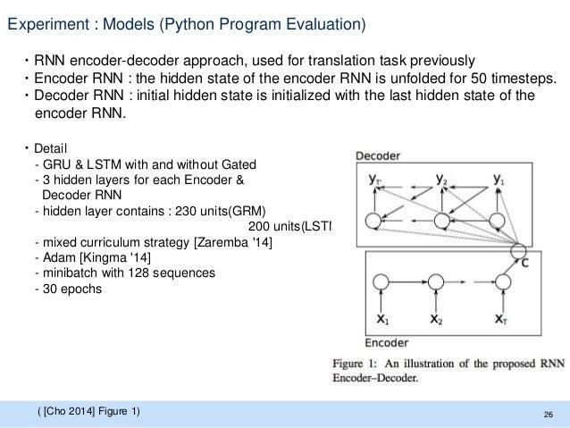 Experiment : Models (Python Program Evaluation) ・RNN encoder-decoder approach, used for translation task previously ・Encod...