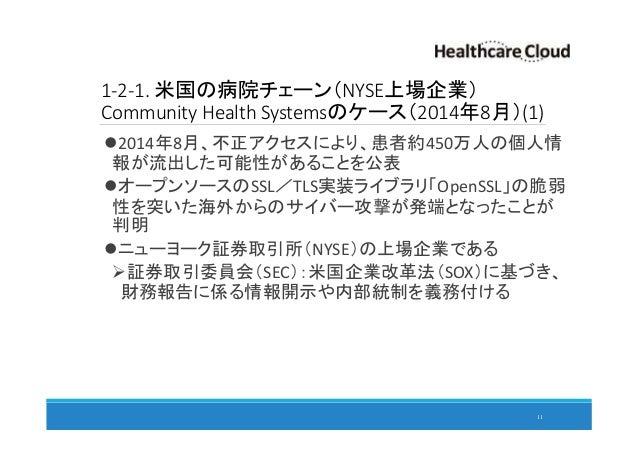 1-2-1. 米国の病院チェーン(NYSE上場企業) Community Health Systemsのケース(2014年8月)(1) 2014年8月、不正アクセスにより、患者約450万人の個人情 報が流出した可能性があることを公表 オープンソ...