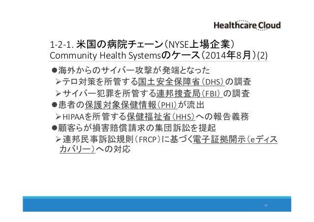 1-2-1. 米国の病院チェーン(NYSE上場企業) Community Health Systemsのケース(2014年8月)(2) 海外からのサイバー攻撃が発端となった テロ対策を所管する国土安全保障省(DHS)の調査 サイバー犯罪を所管す...