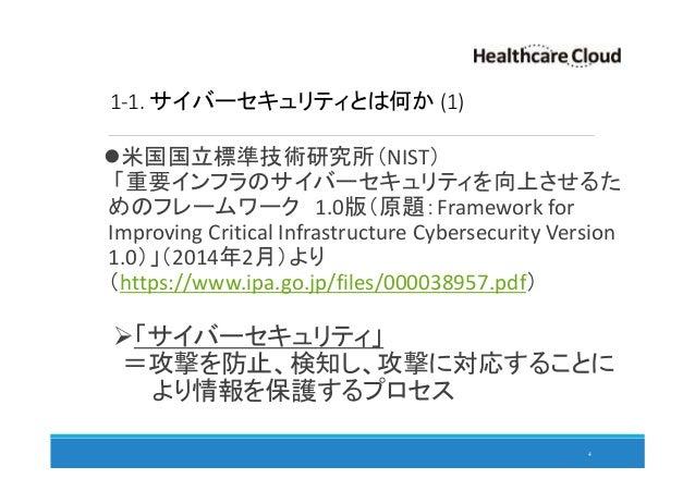 1-1. サイバーセキュリティとは何か (1) 米国国立標準技術研究所(NIST) 「重要インフラのサイバーセキュリティを向上させるた めのフレームワーク 1.0版(原題:Framework for Improving Critical Inf...