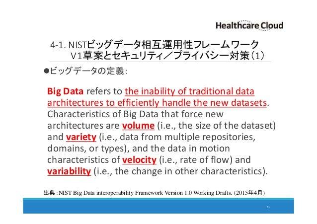 4-1. NISTビッグデータ相互運用性フレームワーク V1草案とセキュリティ/プライバシー対策(1) ビッグデータの定義: Big Data refers to the inability of traditional data archit...