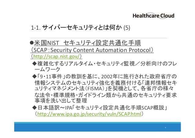 1-1. サイバーセキュリティとは何か (5) 米国NIST セキュリティ設定共通化手順 (SCAP:Security Content Automation Protocol) (http://scap.nist.gov/) 複雑化するリアルタ...