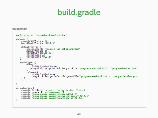 """apply plugin: 'com.android.application'  android { compileSdkVersion 22 buildToolsVersion """"22.0.1""""  defaultConfig {..."""