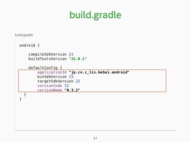 "android { compileSdkVersion 22 buildToolsVersion ""22.0.1""  defaultConfig { applicationId ""jp.co.c_lis.kehai.android""..."
