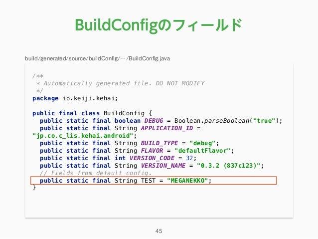 /** * Automatically generated file. DO NOT MODIFY */ package io.keiji.kehai;  public final class BuildConfig { publi...