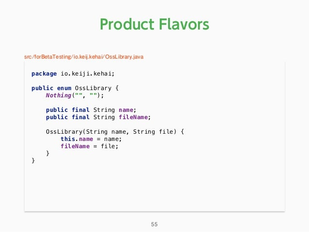 "Product Flavors package io.keiji.kehai;  public enum OssLibrary { Nothing("""", """");  public final String name; public..."