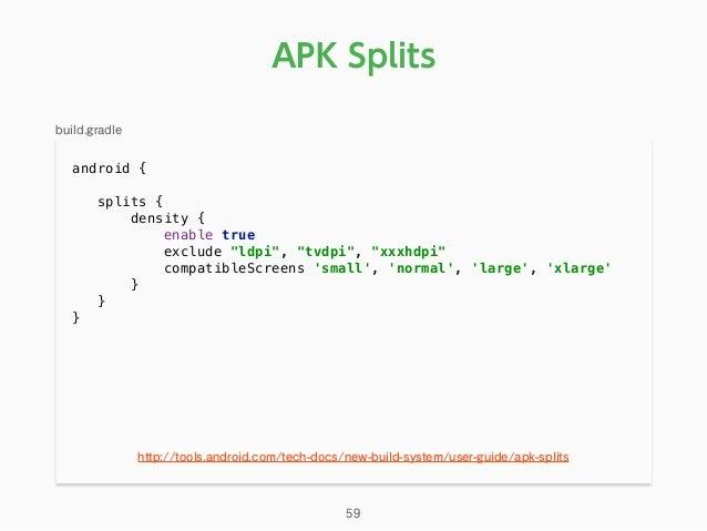 "android { splits { density { enable true exclude ""ldpi"", ""tvdpi"", ""xxxhdpi"" compatibleScreens 'small', 'normal', 'lar..."
