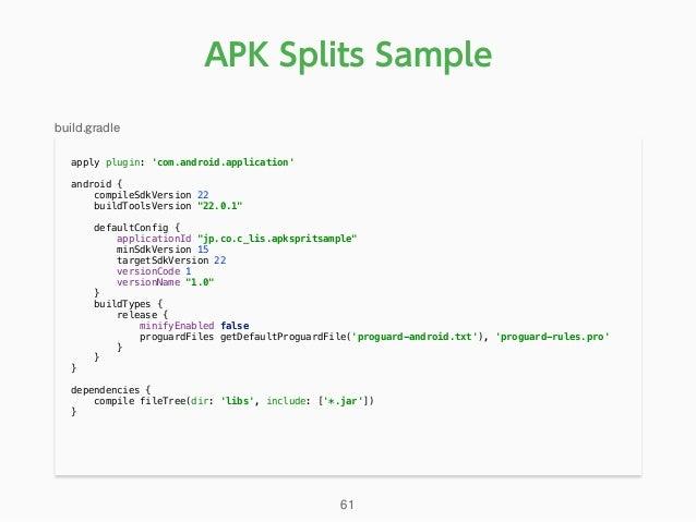 "APK Splits Sample apply plugin: 'com.android.application'  android { compileSdkVersion 22 buildToolsVersion ""22.0.1"" ..."