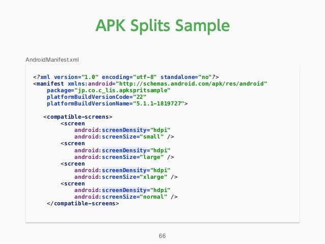 "APK Splits Sample <?xml version=""1.0"" encoding=""utf-8"" standalone=""no""?> <manifest xmlns:android=""http://schemas.android...."