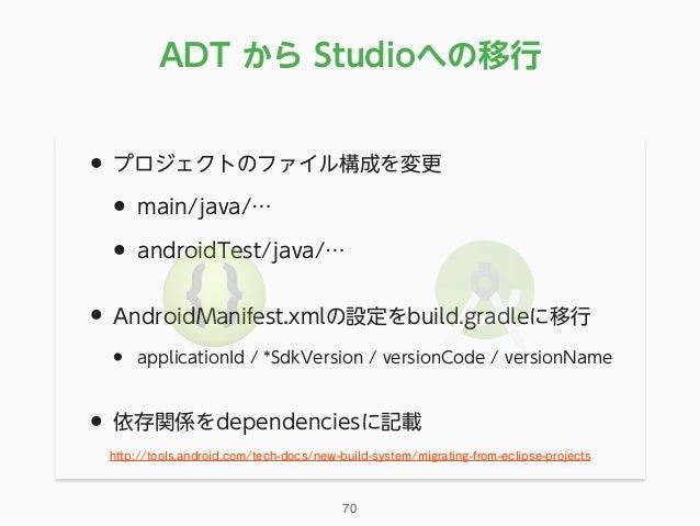 • プロジェクトのファイル構成を変更 • main/java/… • androidTest/java/… • AndroidManifest.xmlの設定をbuild.gradleに移行 • applicationId / *SdkVersi...
