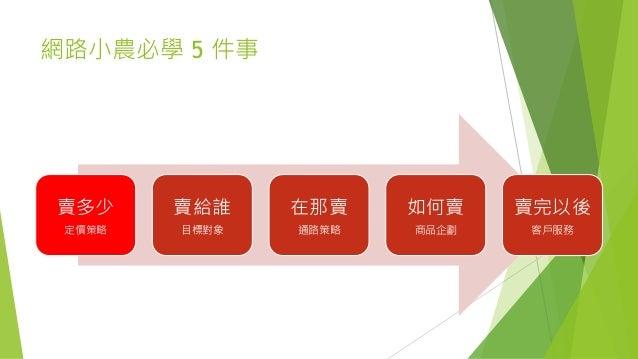 網路小農必學 5 件事 賣多少 定價策略 賣給誰 目標對象 在那賣 通路策略 如何賣 商品企劃 賣完以後 客戶服務