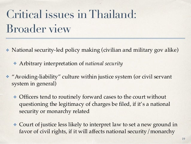 Critical issues inThailand: Digital rights ✤ 2007 Computer-related Crime Act ✤ 1) Intermediary liability 2) Abused as onl...