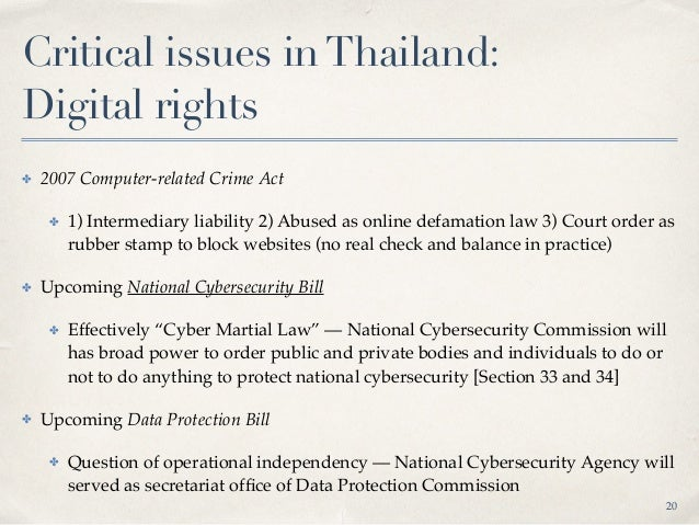 Critical issues inThailand: Looking forward ✤ Multi-stakeholderism governance model as an approach (instead of regulation...