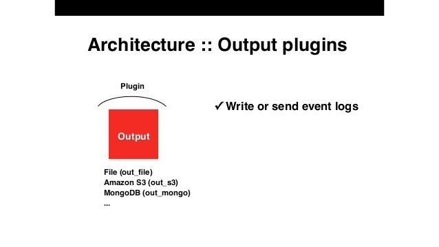 Architecture :: Output plugins Plugin ✓ Write or send event logs Output File (out_file) Amazon S3 (out_s3) MongoDB (out_mon...