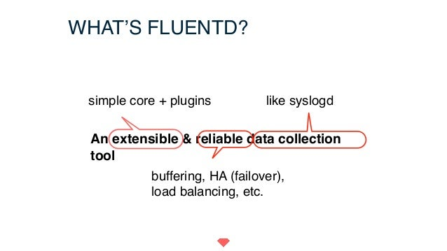 WHAT'S FLUENTD? An extensible & reliable data collection tool simple core + plugins buffering, HA (failover), load balanci...