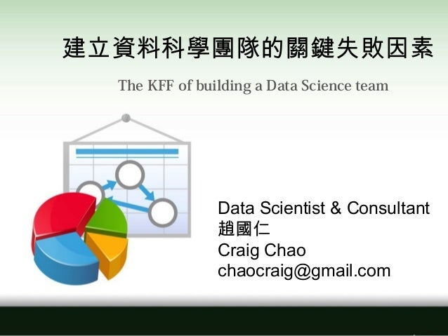 Data Scientist & Consultant 趙國仁 Craig Chao chaocraig@gmail.com 建立資料科學團隊的關鍵失敗因素 The KFF of building a Data Science team