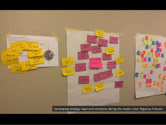 Developing strategy maps and narratives during the master class 'Rigorous Futures'.