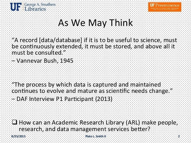 Vision for an academic research library as partner in campus wide dat vision for an academic research library as partner in campus wide data management as it contributes to a preeminent institution publicscrutiny Choice Image