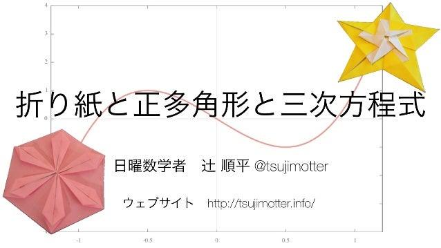 日曜数学者辻 順平 @tsujimotter ウェブサイトhttp://tsujimotter.info/ 折り紙と正多角形と三次方程式