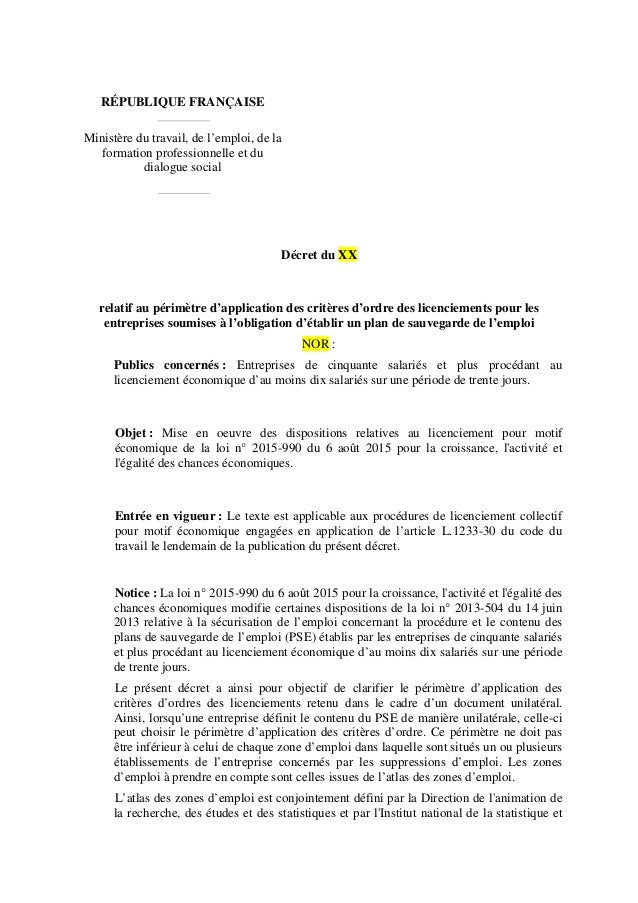 RÉPUBLIQUE FRANÇAISE Ministère du travail, de l'emploi, de la formation professionnelle et du dialogue social Décret du XX...