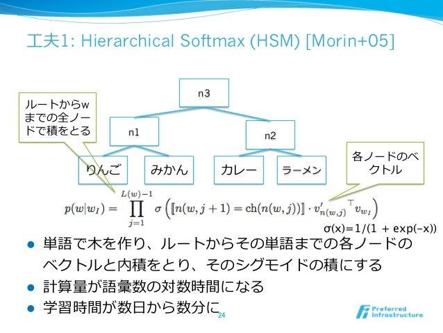 ⼯工夫1: Hierarchical Softmax (HSM) [Morin+05] l 単語で⽊木を作り、ルートからその単語までの各ノードの ベクトルと内積をとり、そのシグモイドの積にする l 計算量量が語彙数の対数時間になる l...
