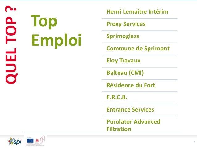 3 QUELTOP? Top Emploi Henri Lemaître Intérim Proxy Services Sprimoglass Commune de Sprimont Eloy Travaux Balteau (CMI) Rés...