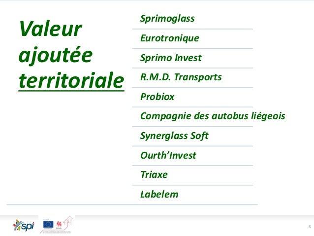 6 Valeur ajoutée territoriale Sprimoglass Eurotronique Sprimo Invest R.M.D. Transports Probiox Compagnie des autobus liége...