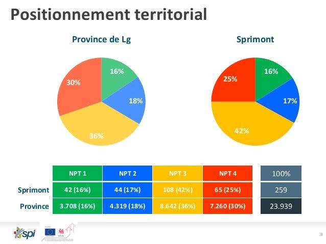 8 Positionnement territorial 16% 18% 36% 30% Province de Lg 16% 17% 42% 25% Sprimont NPT 1 NPT 2 NPT 3 NPT 4 100% Sprimont...