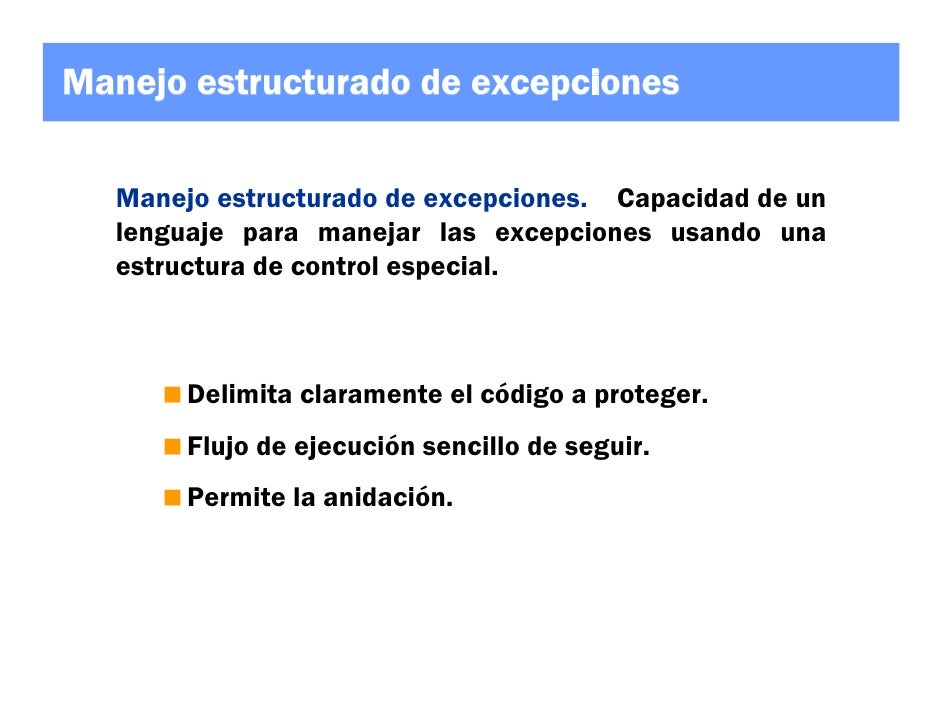 Manejo estructurado de excepciones for Manejo de viveros pdf