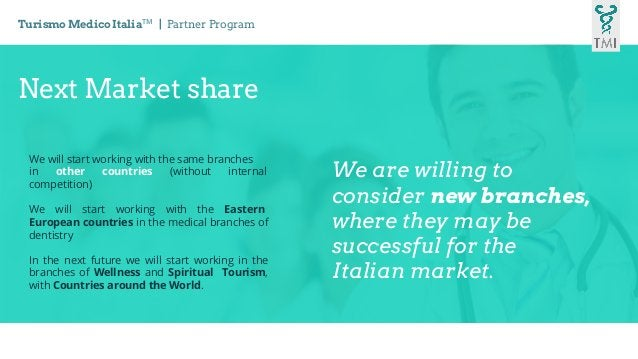 Next Market share We will start working with the same branches in other countries (without internal competition) We will s...