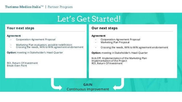 Let's Get Started! Turismo Medico ItaliaTM   Partner Program GAIN Continuous Improvement Your next steps Agreement - Coope...
