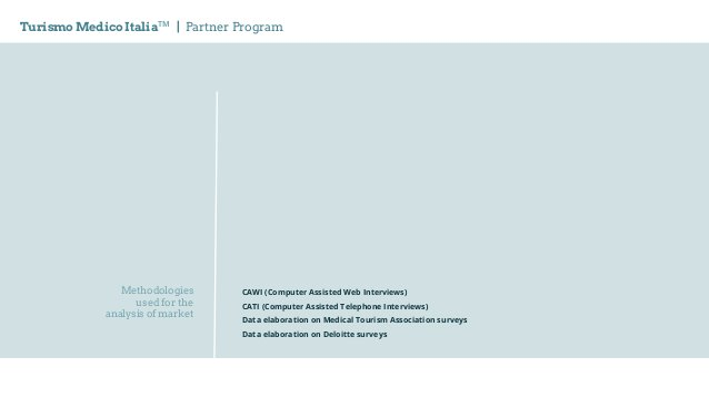 Methodologies used for the analysis of market Turismo Medico ItaliaTM   Partner Program CAWI (Computer Assisted Web Interv...