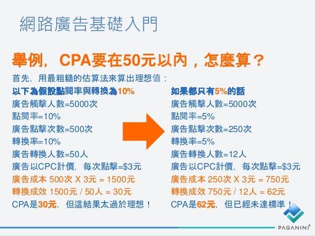 網路廣告基礎入門 舉例,CPA要在50元以內,怎麼算? 首先,用最粗糙的估算法來算出理想值: 以下為假設點閱率與轉換為10% 廣告觸擊人數=5000次 點閱率=10% 廣告點擊次數=500次 轉換率=10% 廣告轉換人數=50人 廣告以CPC計...