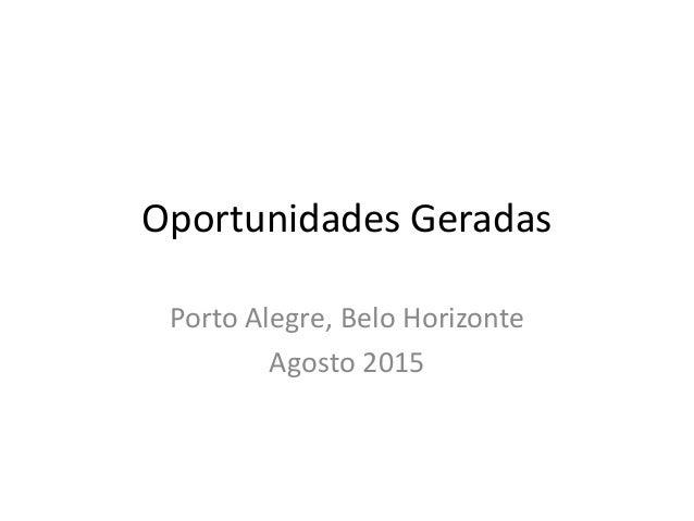 Oportunidades Geradas Porto Alegre, Belo Horizonte Agosto 2015