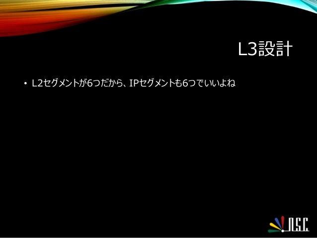 L3設計 • L2セグメントが6つだから、IPセグメントも6つでいいよね