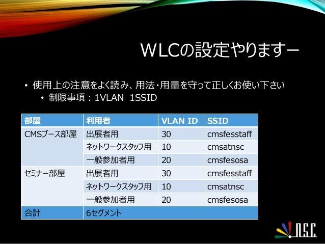WLCの設定やりますー • 使用上の注意をよく読み、用法・用量を守って正しくお使い下さい • 制限事項:1VLAN 1SSID 部屋 利用者 VLAN ID SSID CMSブース部屋 出展者用 30 cmsfesstaff ネットワークスタッ...