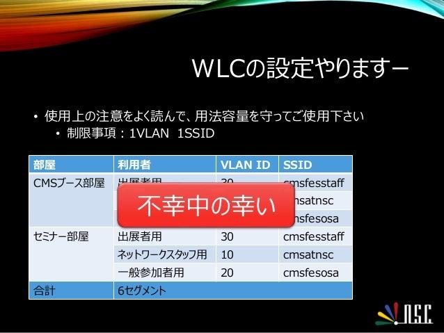 WLCの設定やりますー • 使用上の注意をよく読んで、用法容量を守ってご使用下さい • 制限事項:1VLAN 1SSID 部屋 利用者 VLAN ID SSID CMSブース部屋 出展者用 30 cmsfesstaff ネットワークスタッフ用 ...