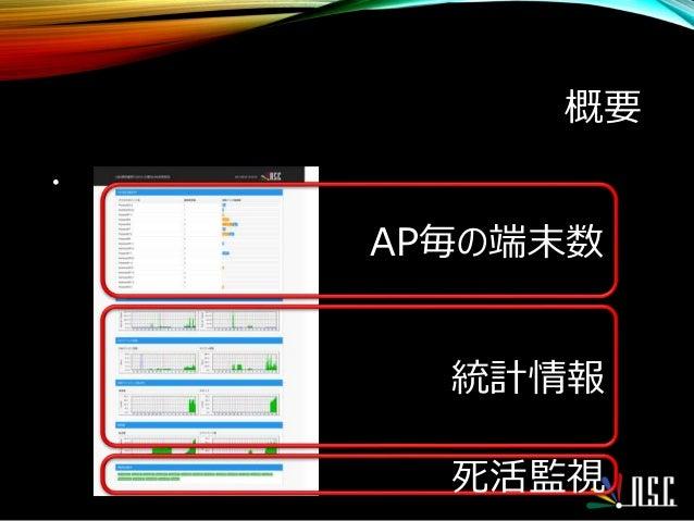 概要 • AP毎の端末数 統計情報 死活監視