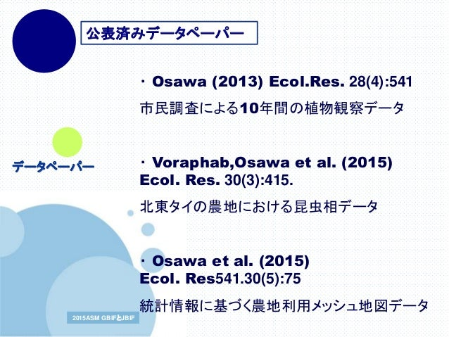 www.company.com2015ASM GBIFとJBIF2015ASM GBIFとJBIF ・ Osawa (2013) Ecol.Res. 28(4):541 市民調査による10年間の植物観察データ ・ Voraphab,Osawa ...