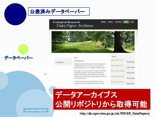 www.company.com2015ASM GBIFとJBIF2015ASM GBIFとJBIF 公表済みデータペーパー データペーパー データアーカイブス 公開リポジトリから取得可能 http://db.cger.nies.go.jp/Ja...