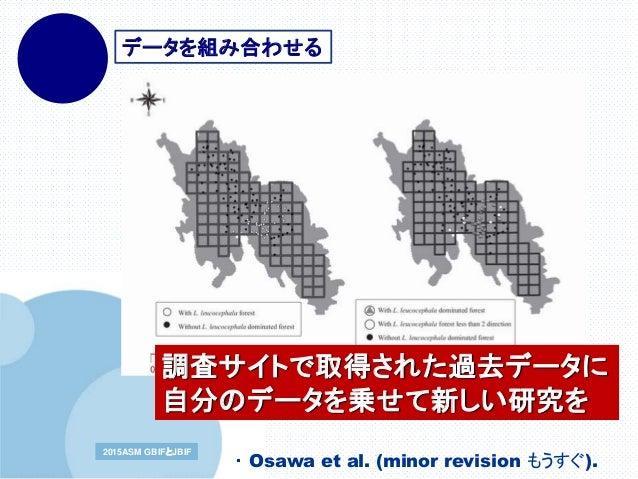 www.company.com2015ASM GBIFとJBIF データを組み合わせる 調査サイトで取得された過去データに 自分のデータを乗せて新しい研究を ・ Osawa et al. (minor revision もうすぐ).