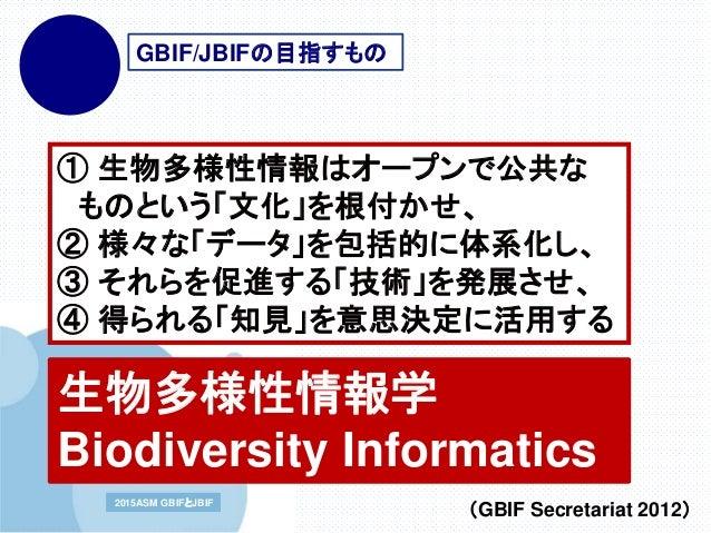 www.company.com2015ASM GBIFとJBIF2015ASM GBIFとJBIF ① 生物多様性情報はオープンで公共な ものという「文化」を根付かせ、 ② 様々な「データ」を包括的に体系化し、 ③ それらを促進する「技術」を発...